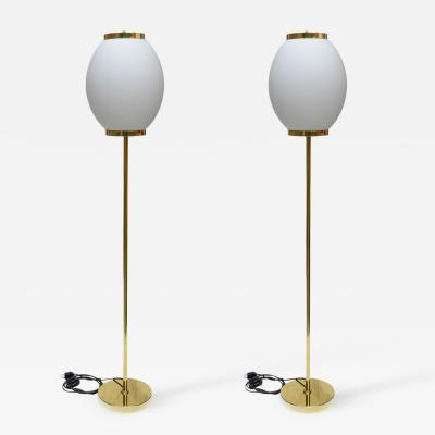 PAIR OF 1980S FLOOR LAMPS BRASS AND GLASS ITALIAN DESIGN
