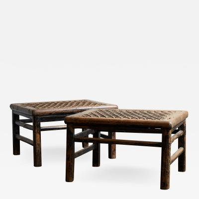 PAIR OF 19TH CENTURY CHINESE STOOLS WITH WOVEN RAW HIDE SEAT