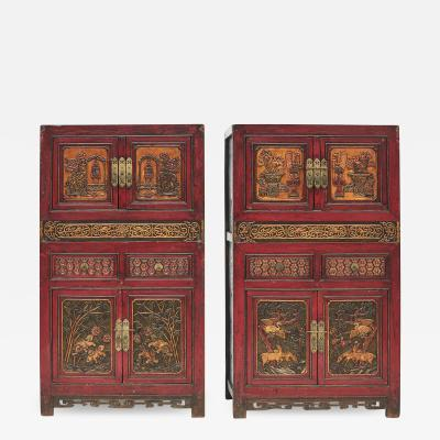 PAIR OF 19TH CENTURY QING DYNASTY RICHLY CARVED WOODEN CABINETS