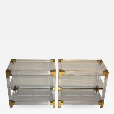 PAIR OF 3 TIERED LUCITE SIDE TABLES