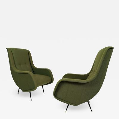 PAIR OF ARMCHAIRS HIGH BACKS ITALY 1960