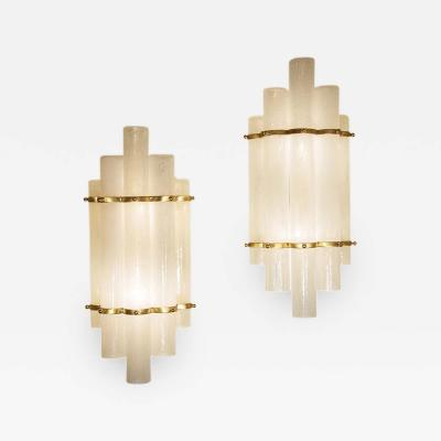 PAIR OF BLOWN MURANO GLASS TUBES AND BRASS WALL LIGHTS