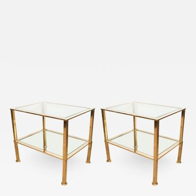 PAIR OF BRASS AND GLASS TWO TIER ITALIAN SIDE TABLES