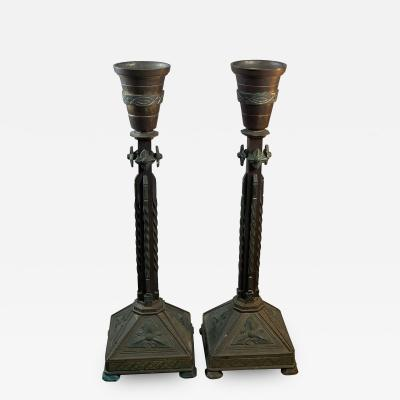 PAIR OF BRONZE GOTHIC CANDLESTICKS