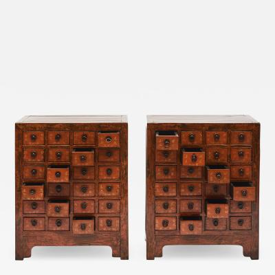 PAIR OF CHINESE APOTHECARY FARMACY MEDICINE CHESTS