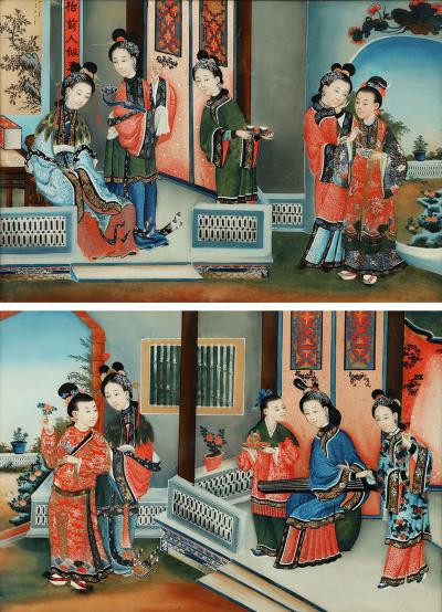 PAIR OF CHINESE COURTYARD SCENES WITH FIGURES