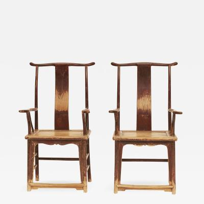 PAIR OF CHINESE SCHOLARS ARMCHAIRS CIRCA 1800S