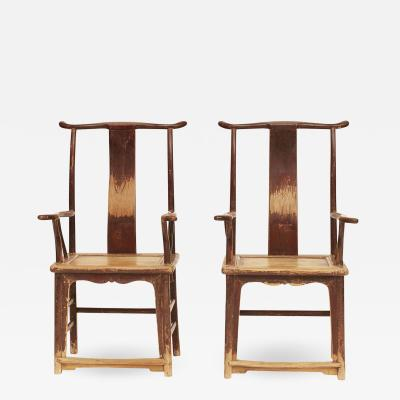 PAIR OF CHINESE SCHOLARS ARMCHAIRS CIRCA 19TH CENTURY