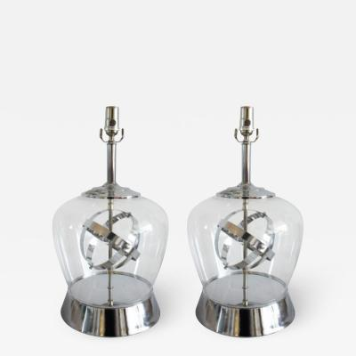 PAIR OF CHROME AND CLEAR GLASS TABLE LAMPS