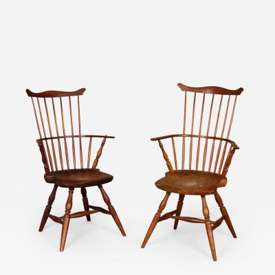 PAIR OF COMB BACK WINDSOR ARM CHAIRS WITH SHAPED SADDLE SEATS