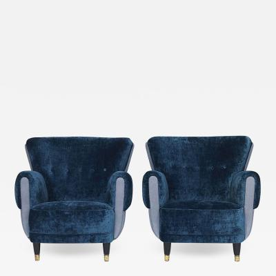 PAIR OF DANISH UPHOLSTERED CLUB CHAIRS CIRCA 1940 1950