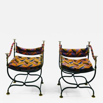 PAIR OF DECORATIVE ITALIAN CAMPAIGN SAVONAVOLA CHAIRS