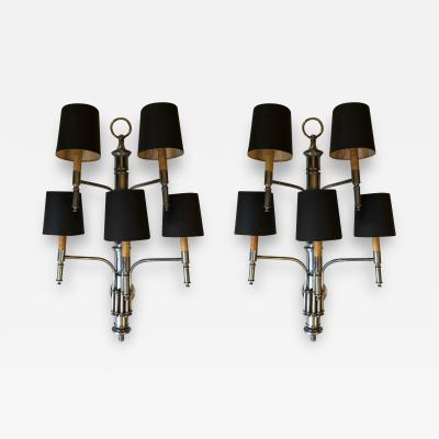 PAIR OF FIVE LIGHTS BAMBOO APPLIQUES WITH BLACK SHADES