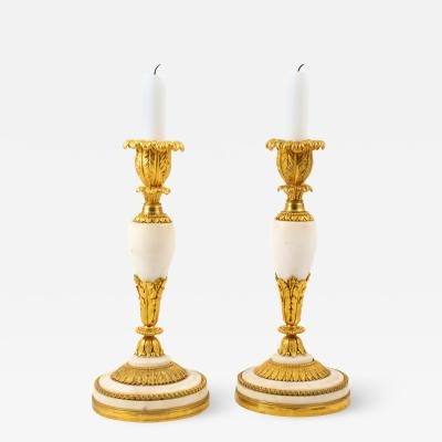 PAIR OF FRENCH LOUIS XVI ORMOLU AND WHITE MARBLE CANDLESTICKS