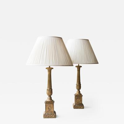 PAIR OF GILT BRONZE LOUIS PHILIPPE CANDELABRA CONVERTED TO LAMPS