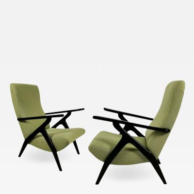 PAIR OF GREEN ARMCHAIRS ITALY 1950