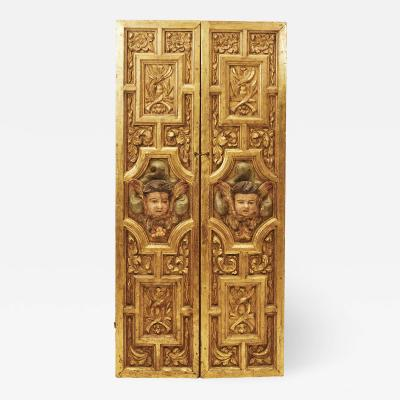 PAIR OF INDOOR BAROQUE SHUTTERS SPAIN 17TH CENTURY
