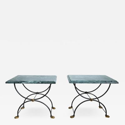PAIR OF ITALIAN 1950 GREEN MARBLE TOP SIDE TABLES