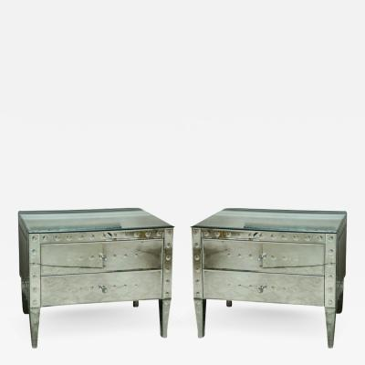 PAIR OF ITALIAN EXQUISITELY MADE MIRRORED 2 DRAWER BEDSIDE COMMODES