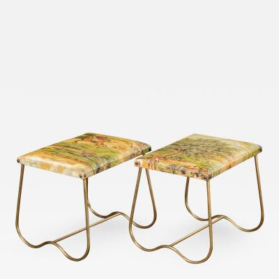 PAIR OF ITALIAN MID CENTURY BRASS BENCHES