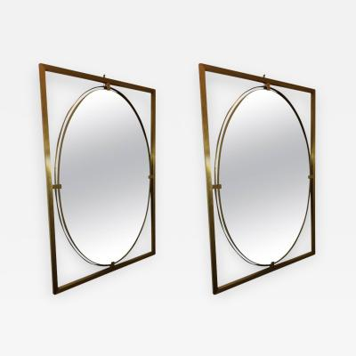 PAIR OF ITALIAN MODERN FLOATING OVAL BRASS MIRRORS