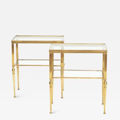 PAIR OF ITALIAN TWO TIER BRASS SIDE TABLES