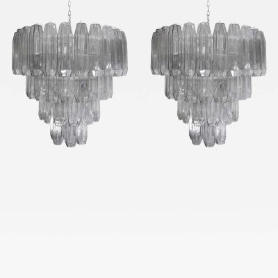 PAIR OF LARGE PEARL GREY BLOWN MURANO POLIEDRI GLASS CHANDELIERS