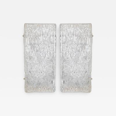 PAIR OF LARGE SCALE TEXTURED GLASS RECTANGULAR SCONCES