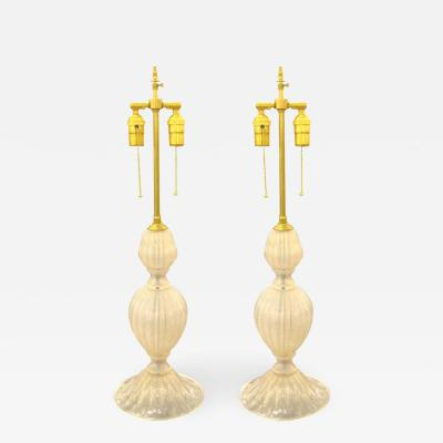 PAIR OF LIGHT GOLD MURANO GLASS LAMPS RE WIRED