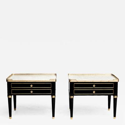 PAIR OF LOUIS XVI STYLE MARBLE TOPPED NIGHTSTANDS OR SIDE TABLES