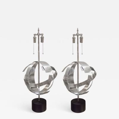 PAIR OF MID CENTURY MODERN STAINLESS STEEL SPHERE LAMPS