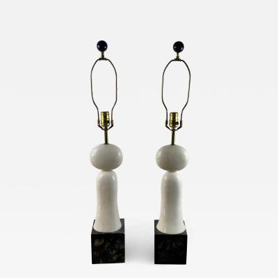 PAIR OF MODERNIST SCULPTED WHITE AND BLACK MARBLE LAMPS