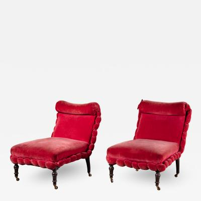 PAIR OF NAPOLEON III SLIPPER CHAIRS