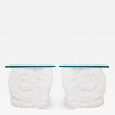 PAIR OF NAUTILUS SHELL CONSOLE TABLES