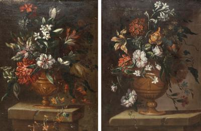 PAIR OF PAINTINGS OF FLOWERS SPANISH SCHOOL 18TH CENTURY