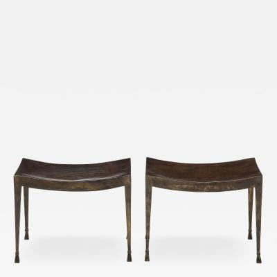 PAIR OF PATINATED AND GILT IRON STOOLS