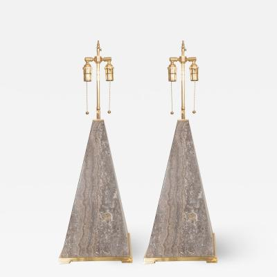 PAIR OF PYRAMIDAL MARBLE TABLE LAMPS