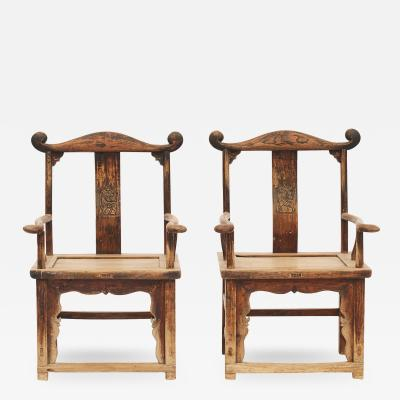 PAIR OF QING DYNASTY OFFICIALS HAT YOKE BACK CHAIRS