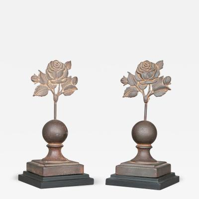 PAIR OF ROSE FENCE FINIALS