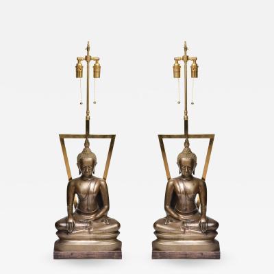 PAIR OF SCULPTURED BRONZE BUDDHIST ASIAN MOTIF LAMPS