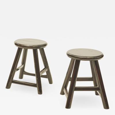 PAIR OF SMALL STOOLS BLACK LACQUER