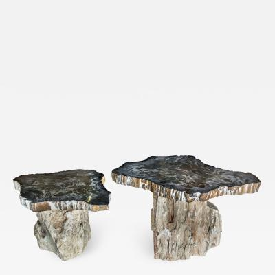 PAIR OF STONE SIDE TABLES