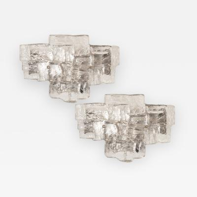 PAIR OF STONY MURANO GLASS SCONCES