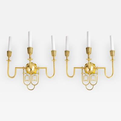 PAIR OF SWEDISH ART DECO TRIPLE ARM SCONCES