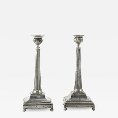 PAIR OF SWEDISH GUSTAVIAN FUTED TIN CANDLESTICKS