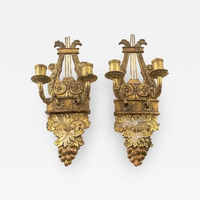 PAIR OF SWEDISH GUSTAVIAN GILTWOOD WALL SCONCES