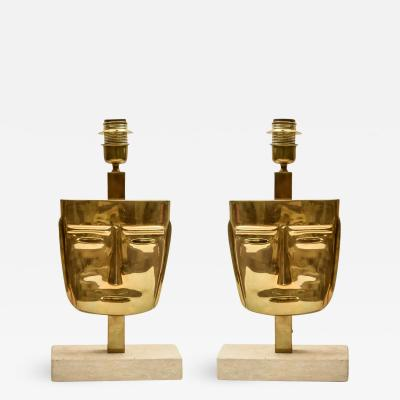 PAIR OF VINTAGE BRASS FACE SCULPTURE TABLE LAMPS
