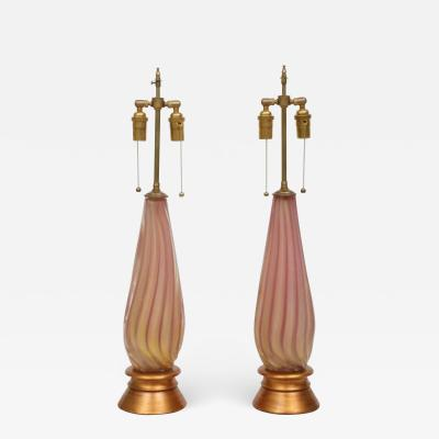 PAIR OF VINTAGE GOLD FLECKED PINK MURANO GLASS LAMPS WITH GILT BASES