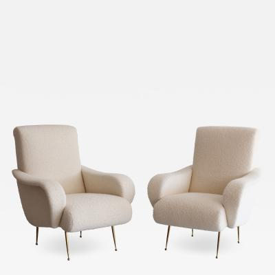 PAIR OF ZANUSO STYLE CHAIRS IN WOOL BOUCL