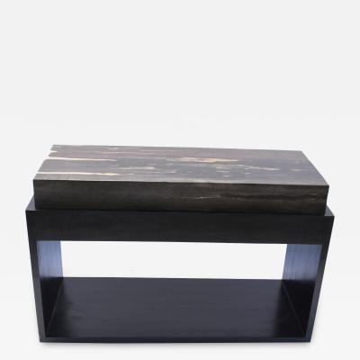 PAIR TABOURET BLACK RECTANGLE PETRIFIED TOP